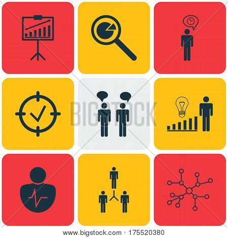 Set Of 9 Executive Icons. Includes Group Organization, Planning, Decision Making And Other Symbols. Beautiful Design Elements.