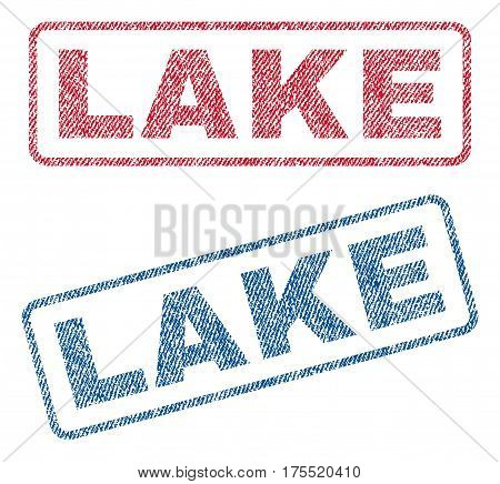 Lake text textile seal stamp watermarks. Blue red fabric vectorized texture. Vector tag inside rounded rectangular banner. Rubber sticker with fiber textile structure.