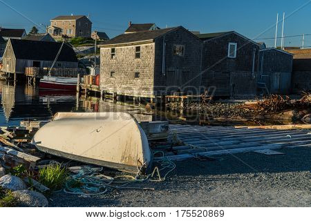 Boat up on a slip at Peggy's Cove, Nova Scotia, Canada.