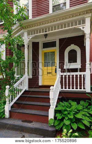 Front entrance on an older North American home.