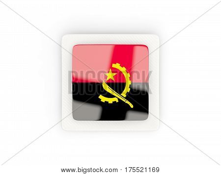 Square Carbon Icon With Flag Of Angola