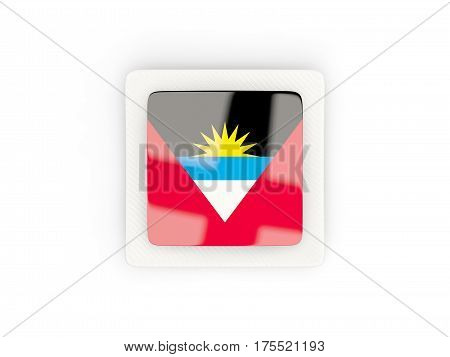 Square Carbon Icon With Flag Of Antigua And Barbuda