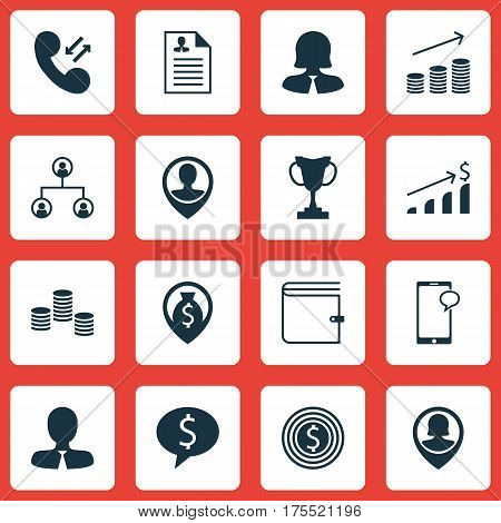 Set Of 16 Management Icons. Includes Money, Pin Employee, Employee Location And Other Symbols. Beautiful Design Elements.