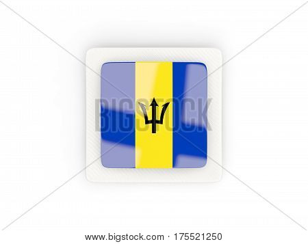 Square Carbon Icon With Flag Of Barbados