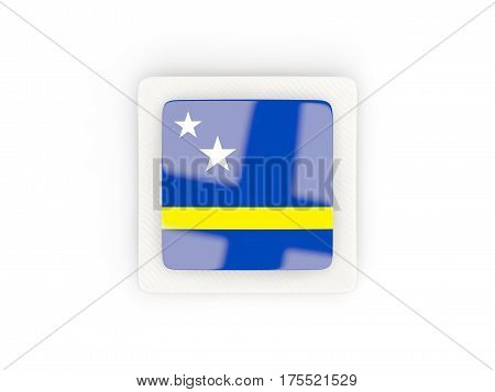 Square Carbon Icon With Flag Of Curacao