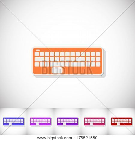 Keyboard. Flat sticker with shadow on white background. Vector illustration
