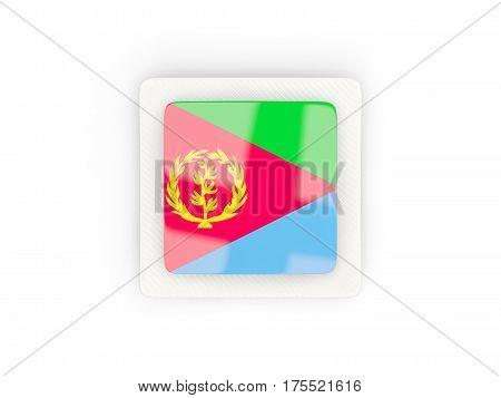 Square Carbon Icon With Flag Of Eritrea