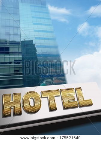 Stock image of a Hotel sign on building