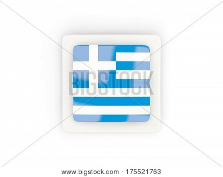 Square Carbon Icon With Flag Of Greece