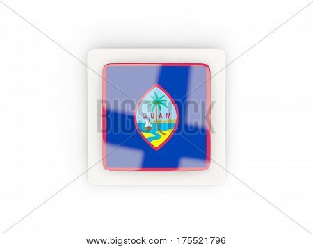 Square Carbon Icon With Flag Of Guam