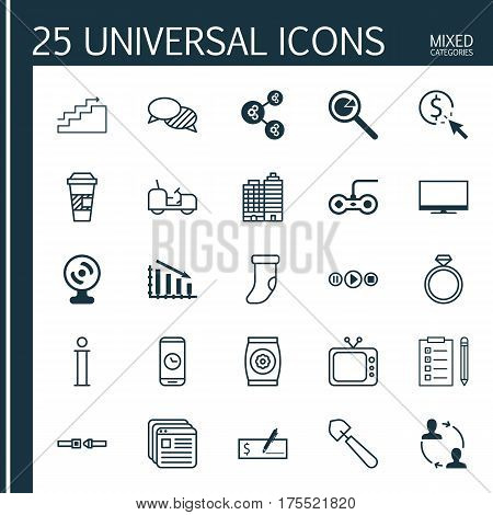 Set Of 25 Universal Editable Icons. Can Be Used For Web, Mobile And App Design. Includes Elements Such As Agrimotor, Television, Takeaway Coffee And More.