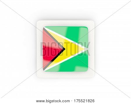 Square Carbon Icon With Flag Of Guyana