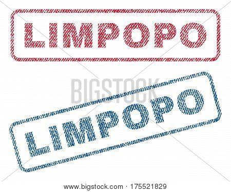 Limpopo text textile seal stamp watermarks. Blue red fabric vectorized texture. Vector tag inside rounded rectangular shape. Rubber emblem with fiber textile structure.