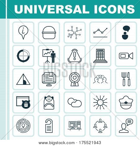 Set Of 25 Universal Editable Icons. Can Be Used For Web, Mobile And App Design. Includes Elements Such As Camping House, E-Study, Price And More.