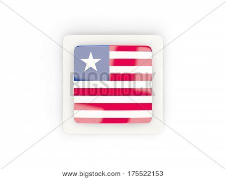 Square Carbon Icon With Flag Of Liberia