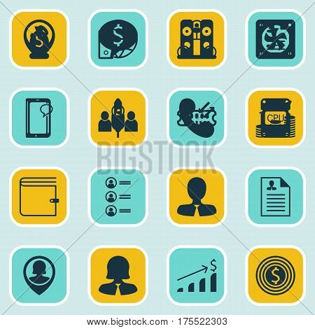 Set Of 16 Hr Icons. Includes Job Applicants, Tree Structure, Wallet And Other Symbols. Beautiful Design Elements.