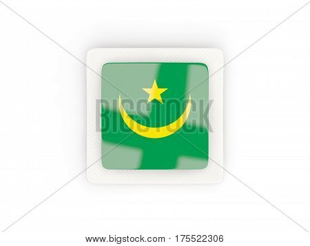 Square Carbon Icon With Flag Of Mauritania