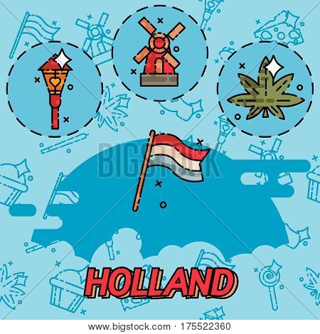 Holland flat concept icons. Symbols travel set and europe culture . Vector illustrations with Netherlands symbols.