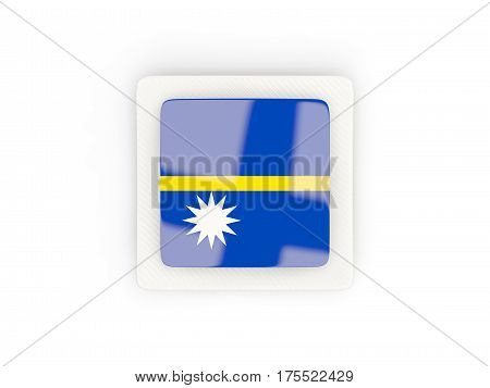Square Carbon Icon With Flag Of Nauru