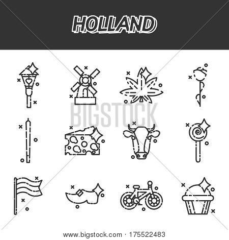 Holland flat icons set. Symbols travel set and europe culture . Vector illustrations with Netherlands symbols.
