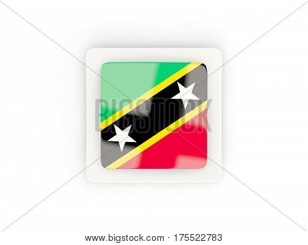 Square Carbon Icon With Flag Of Saint Kitts And Nevis