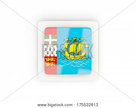 Square Carbon Icon With Flag Of Saint Pierre And Miquelon