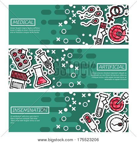 Artificial insemination horizontal banners set with motherhood symbols flat isolated vector illustration