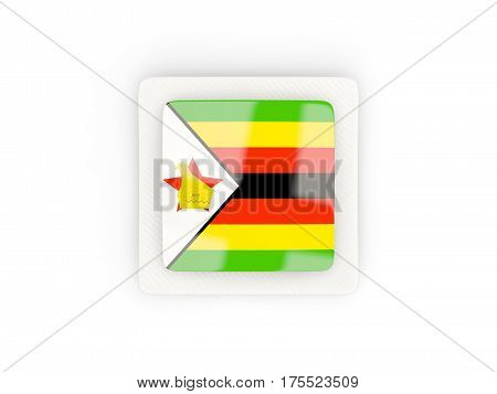 Square Carbon Icon With Flag Of Zimbabwe