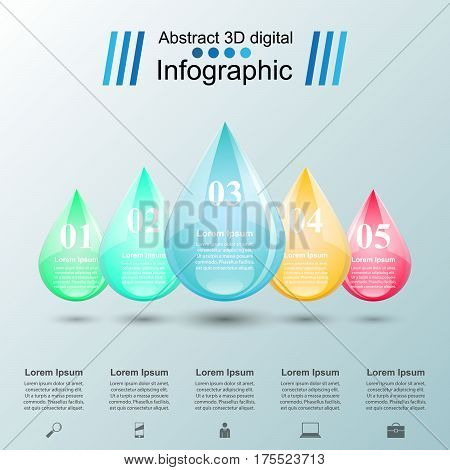 Drop illustration. Infographic design template and marketing icons.