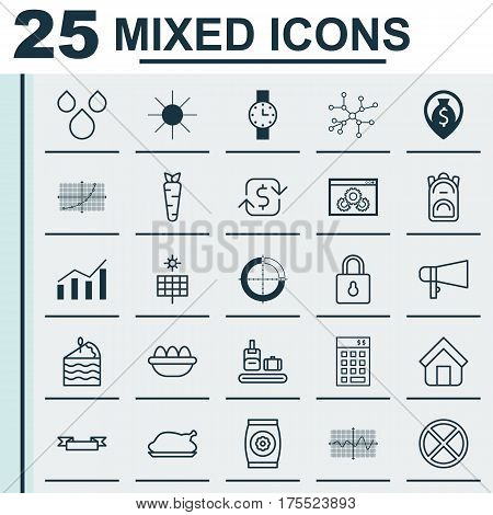 Set Of 25 Universal Editable Icons. Can Be Used For Web, Mobile And App Design. Includes Elements Such As Estate, Rucksack, Safeguard And More.