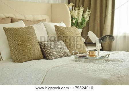 Decorative Tray On Bed In Classic Style Bedroom