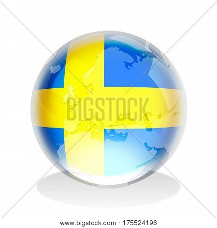 Crystal sphere of Sweden insignia with world map