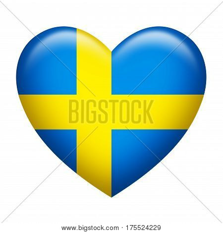 Heart shape of Sweden flag isolated on white