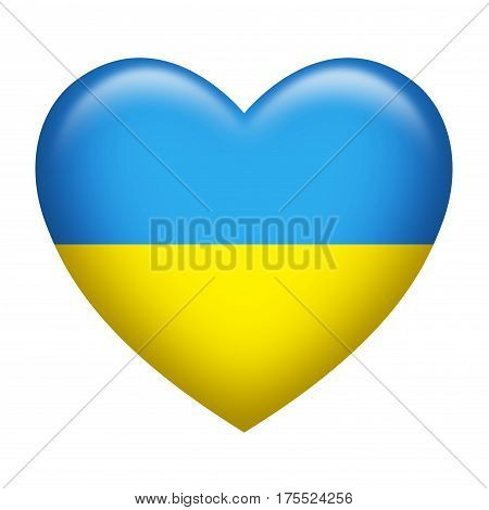 Heart shape of Ukraine insignia isolated on white