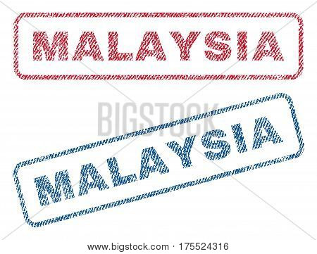 Malaysia text textile seal stamp watermarks. Blue red fabric vectorized texture. Vector caption inside rounded rectangular shape. Rubber sign with fiber textile structure.