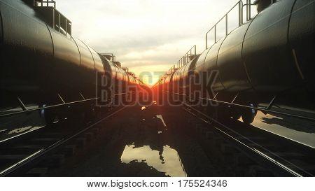 Freight train oil tankers. Against Sunrise. 3d rendering