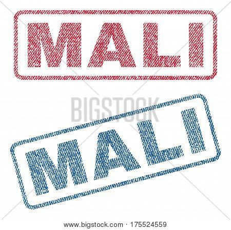Mali text textile seal stamp watermarks. Blue red fabric vectorized texture. Vector tag inside rounded rectangular shape. Rubber emblem with fiber textile structure.