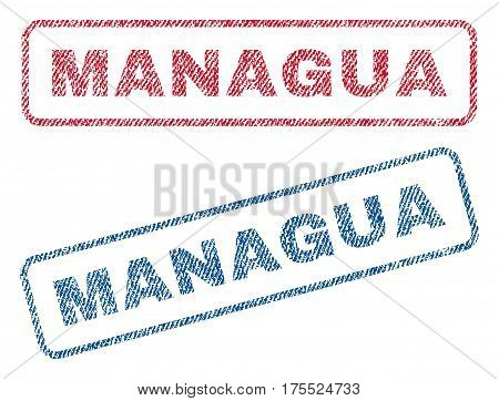 Managua text textile seal stamp watermarks. Blue red fabric vectorized texture. Vector caption inside rounded rectangular shape. Rubber sign with fiber textile structure.