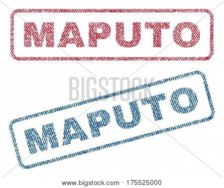 Maputo text textile seal stamp watermarks. Blue red fabric vectorized texture. Vector tag inside rounded rectangular banner. Rubber sign with fiber textile structure.