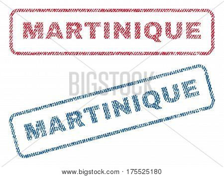 Martinique text textile seal stamp watermarks. Blue red fabric vectorized texture. Vector tag inside rounded rectangular banner. Rubber sticker with fiber textile structure.