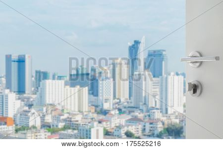 Opened White Door To Bangkok City Skyline With Modern Buidings As Background