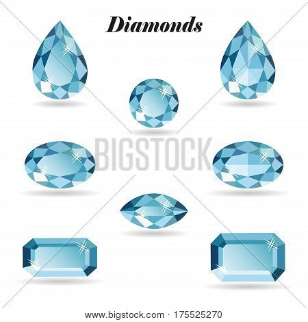 Set of eight different cut diamonds. Shiny three-dimensional jewelry on a white background. Isolated objects vector illustration