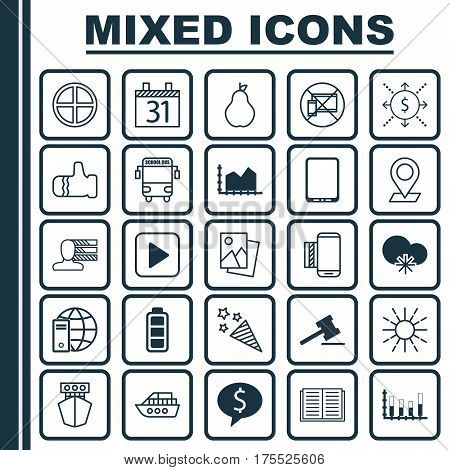 Set Of 25 Universal Editable Icons. Can Be Used For Web, Mobile And App Design. Includes Elements Such As Cellphone, Start Song, Date And More.
