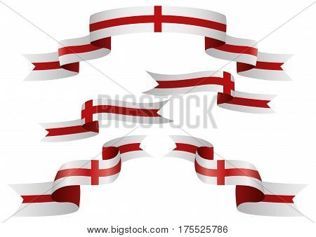 Set of England insignia in different shape of ribbons