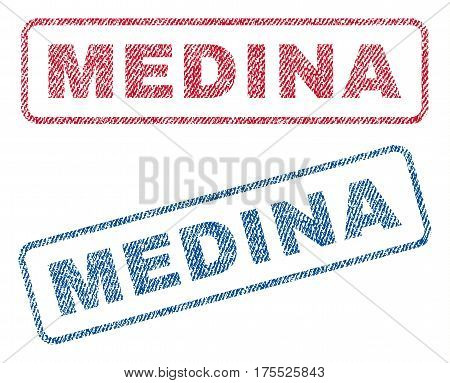 Medina text textile seal stamp watermarks. Blue red fabric vectorized texture. Vector caption inside rounded rectangular banner. Rubber emblem with fiber textile structure.