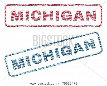 Michigan text textile seal stamp watermarks. Blue red fabric vectorized texture. Vector caption inside rounded rectangular shape. Rubber sticker with fiber textile structure.
