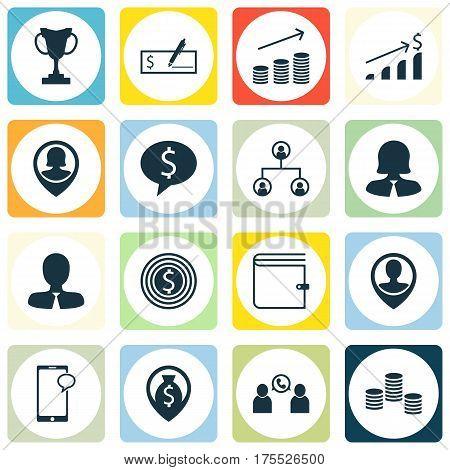 Set Of 16 Management Icons. Includes Money, Money Navigation, Tournament And Other Symbols. Beautiful Design Elements.