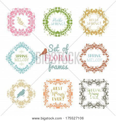 Vector Set Of Frames Of Spring Blossoms.