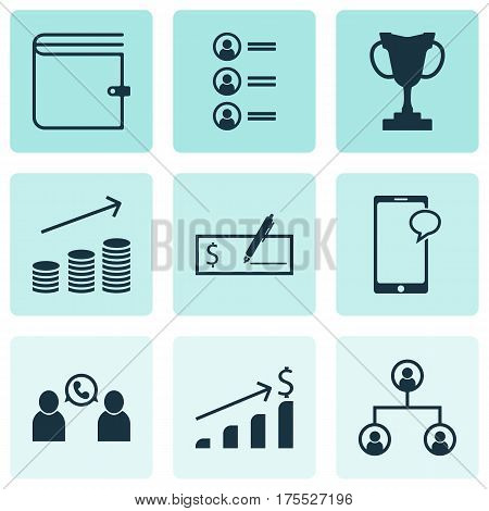 Set Of 9 Human Resources Icons. Includes Job Applicants, Successful Investment, Tree Structure And Other Symbols. Beautiful Design Elements.