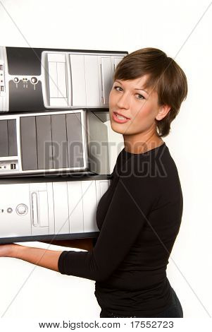 Pretty young woman carrying few computers